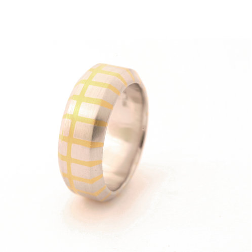 Men's Platinum Band with 22k Inlay.  10mm wide.