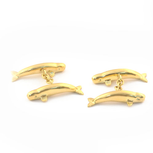 Whale Cufflinks in 18k Gold.  1 1/8 inch whales.
