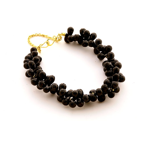 Black Spinel Briolette Bracelet in 18k Gold.