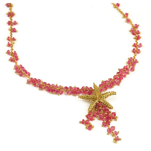 18k Sea Star Necklace with Pink Sapphire beads