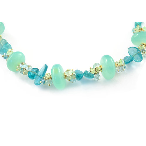 Ocean Beads Necklace in 18k Gold.