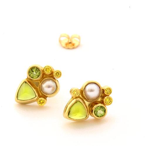 Peridot, Akoya and .18 ctw Natural Yellow Diamond Earrings in 18k Gold.