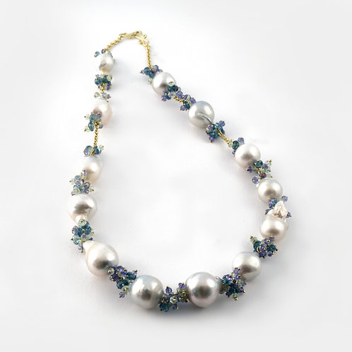 South Sea Pearl and Tanzanite, Sapphire, Apatite and Chrysoberyl Necklace