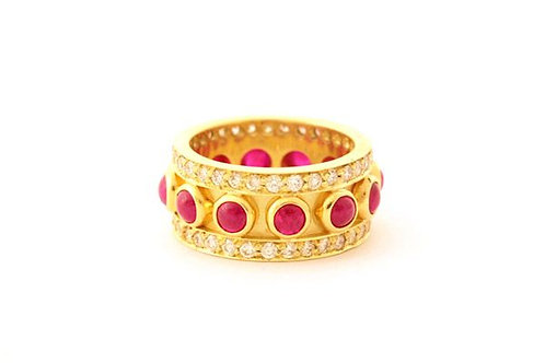 18k Ruby Cabochon Eternity Ring with 1.4 ctw in Diamonds