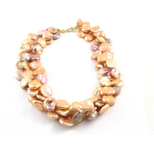 Triple Strand Natural Color Freshwater Keshi Pearl Necklace with 18k Gold Clasp.