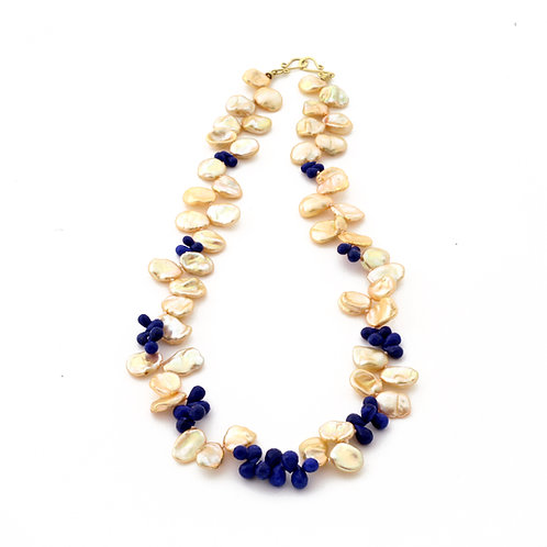 Treated Freshwater Keshi Pearl and Faceted Lapis Drop Necklace