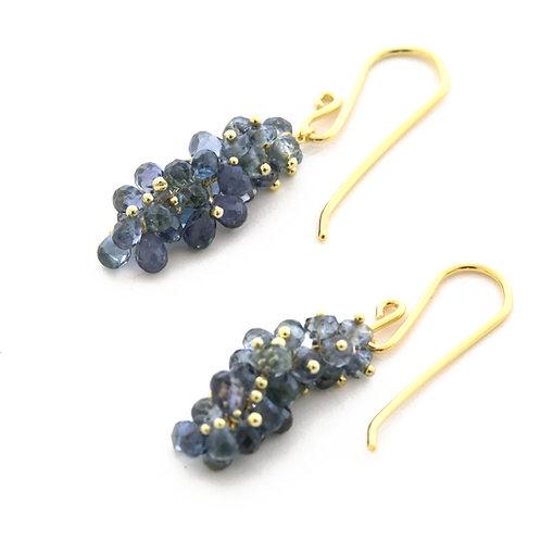 Grey Sapphire Cluster Earrings in 18k Gold.