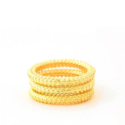 Basket Weave Wire Rings in 18k Gold.