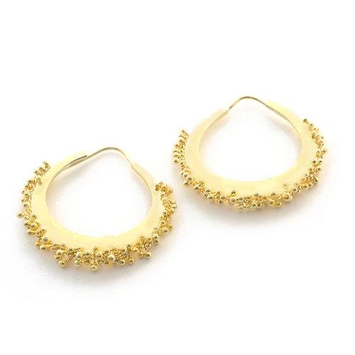 Caviar Hoop Earrings in 18k Gold.  1 1/4 inches.