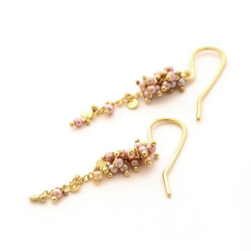 Pink Freshwater Seed Pearl Earrings in 18k Gold