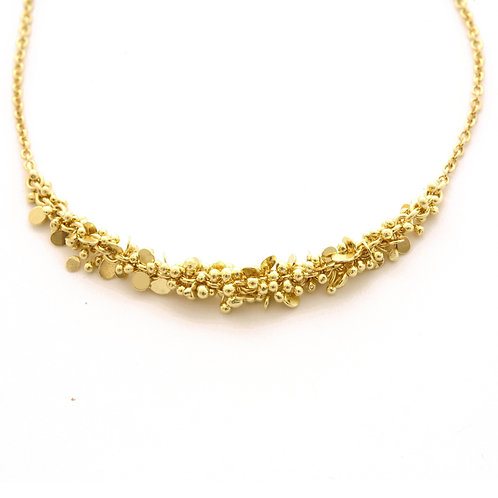 18K Gold Chain with Gold Disc and Ball Cluster.