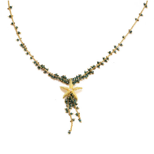 Blue Diamond Bead Necklace with Seastar in 18k Gold.  16 inches.