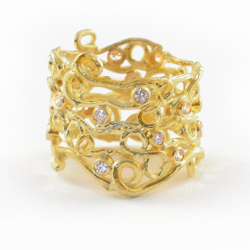 18k Bartlet Farm Twig Ring with .60 ctw Diamonds.