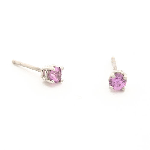 4mm Pink Tourmaline Studs in Platinum.