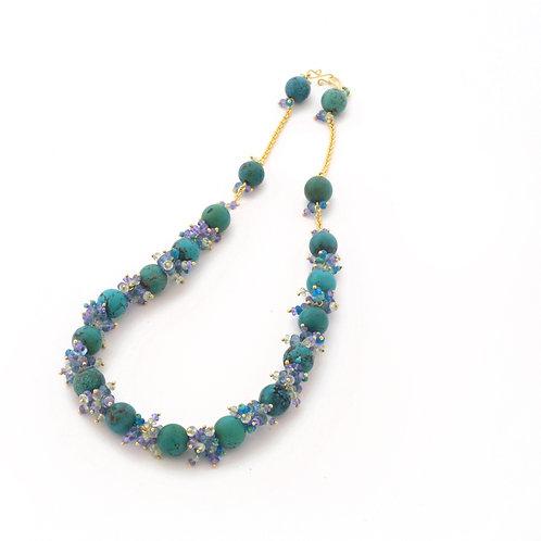 Turquoise, Aquamarine, Tsavorite Garnet and Tanzanite Necklace in 18k Gold