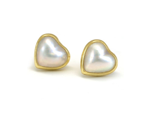 Natural Mabe` Pearl Studs in !8k