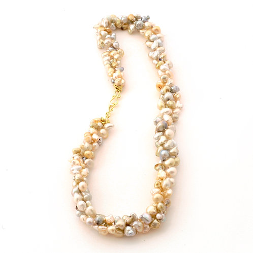 Triple Strand South Sea Keshi Necklace with 18k Gold Clasp.