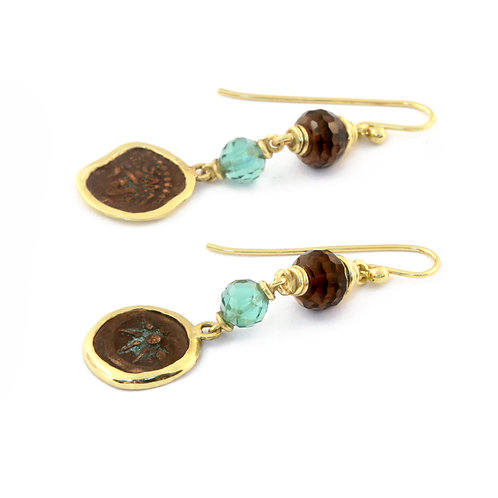 Antiquity Bactrian (Afghanistan) Coin Earrings with Tourmaline and Smoky Quartz.