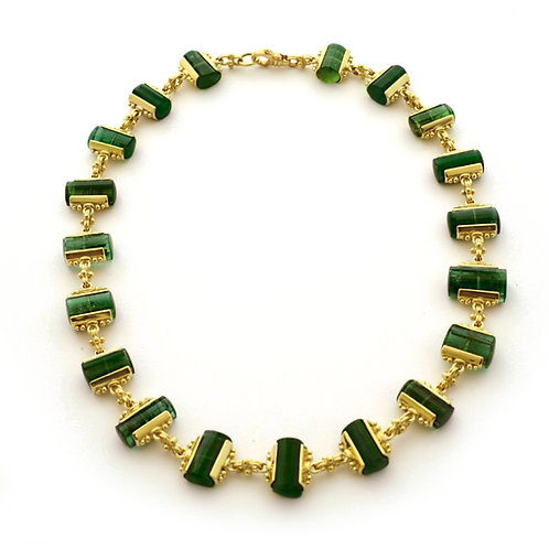 Green Tourmaline Necklace with 18k Gold Bead Caps.