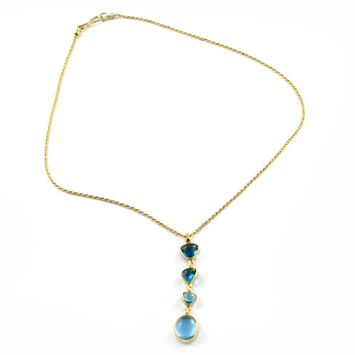 Blue Topaz and Aquamarine Pendant on 18k Gold Rope Chain.