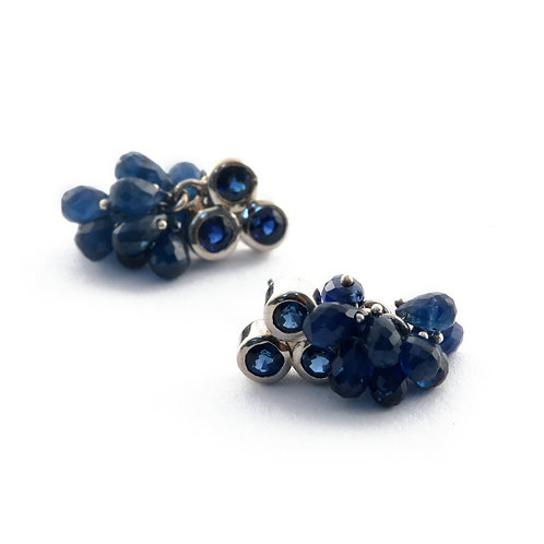 Triple Faceted Blue Sapphire Earrings in White Gold with Blue Sapphire Beads