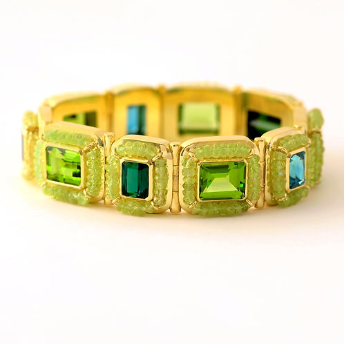 Bracelet in 18k Gold with Green Tourmaline, Blue Zircon, Peridot and Chrysoberyl