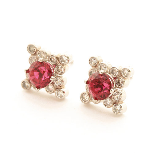 2.19 ctw Red Spinel Earrings with .72ctw Diamonds set in Platinum.