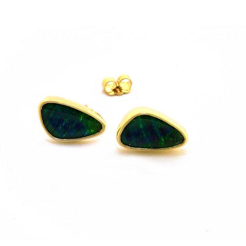 Opal Doublet Stud Earrings in 18k Gold.