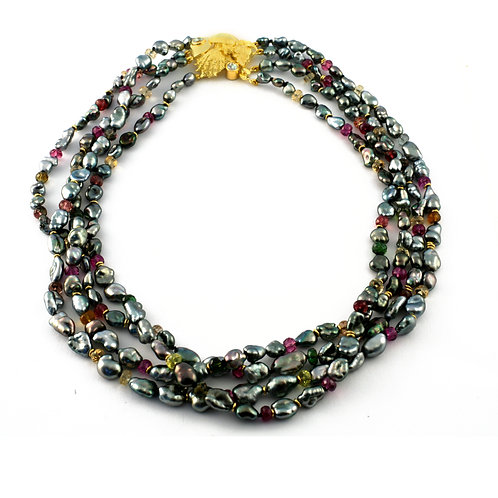 Tahitian Keshi Pearl Necklace with Multicolor Tourmaline and Sealife Clasp