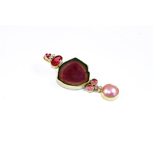 Pendant with Watermelon and Pink Tourmaline, Diamonds and Mabe Pearl.