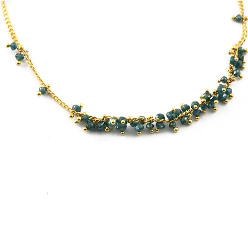 Natural Color Blue Diamond Bead Necklace in 18k Gold.
