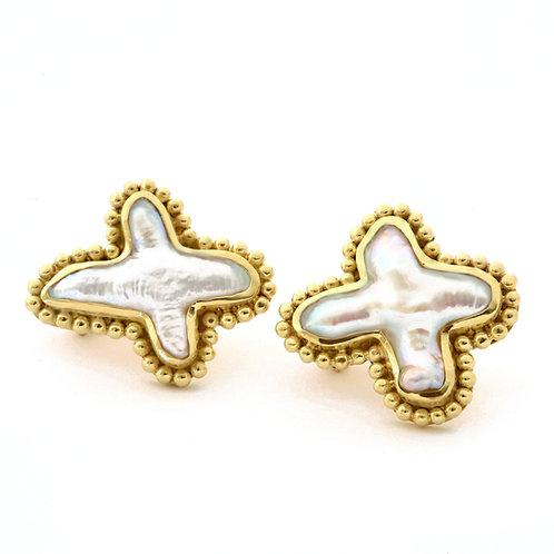 Cross Pearl Earrings in 18k Gold.