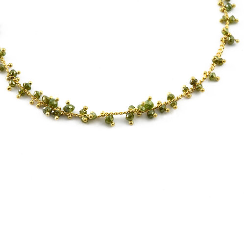 Natural Color Green Diamond Bead Necklace in 18k Gold.