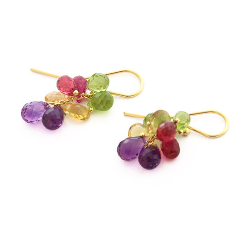 Briolette Earrings with Peridot, Tourmaline, Amethyst, and Yellow Sapphire