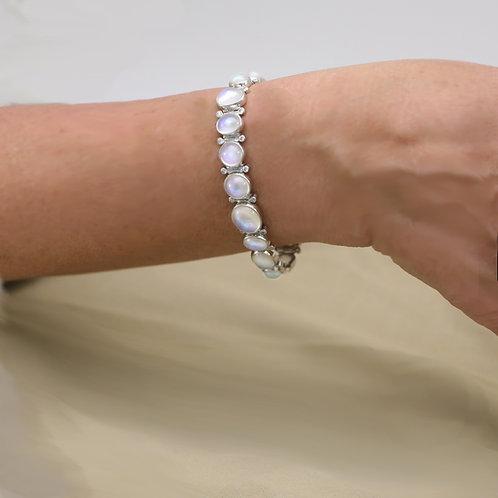 Moonstone Bracelet in Platinum with diamonds.