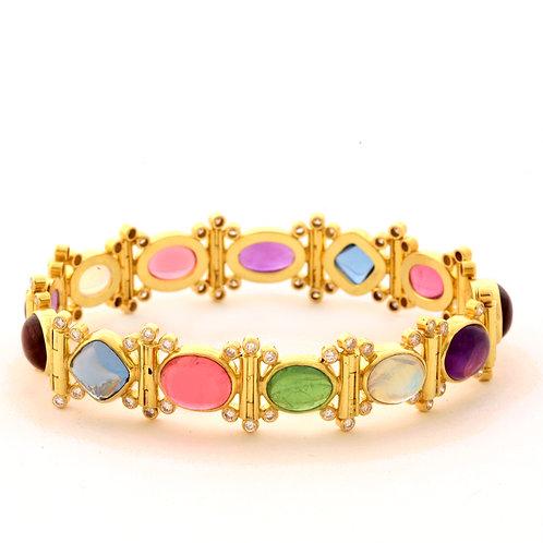 Multistone Bracelet with Diamonds in 18k Gold.