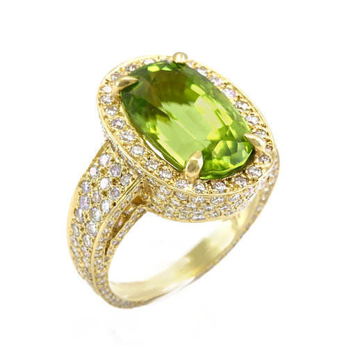Burmese Peridot Ring with Pave Diamonds