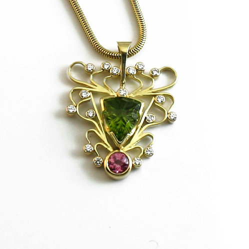 Peridot and Pink Tourmaline Pendant with 18k surround.