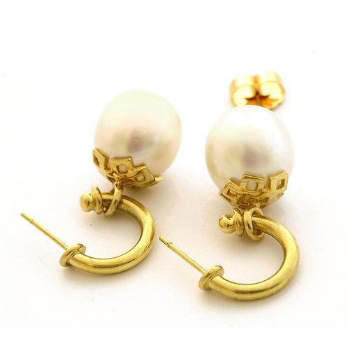 18K Hoop Earrings with 14.3x15.5 mm South Sea Pearls.