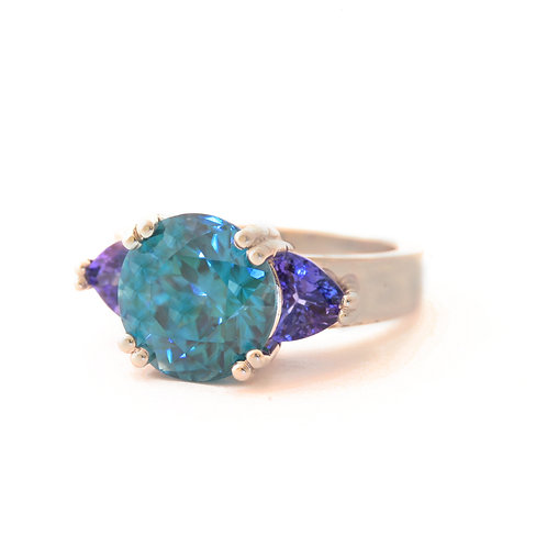 8.29 Carat Blue ZIrcon and 1.62 ctw Tanzanite set in Platinum.