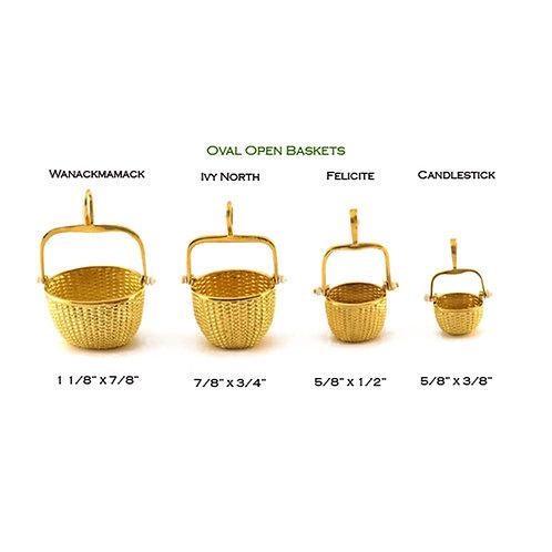 Oval Open Nantucket Lightship Baskets in 14k and 18k Gold