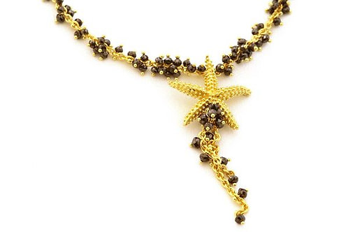 Black Diamonds and 18k Seastar Necklace