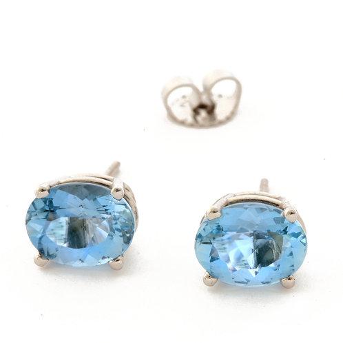 3.17 ctw Aquamarine Earrings set in Platinum.