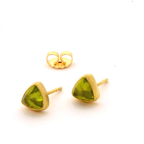Peridot Trillion Cabochon Earrings in 18k Gold.
