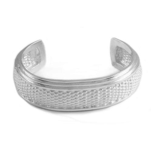 Narrow Basket Weave cuff in Sterling