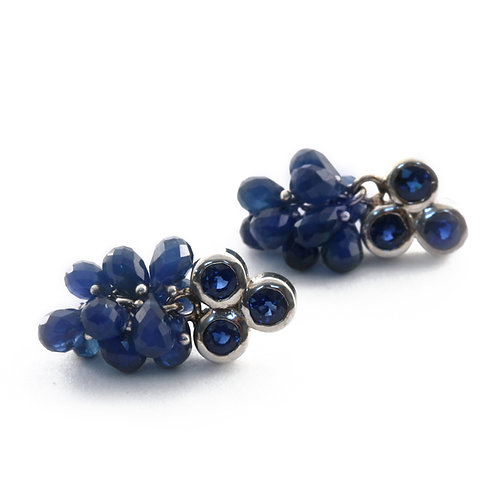 Triple Faceted Blue Sapphire Earrings with Faceted Blue Sapphire