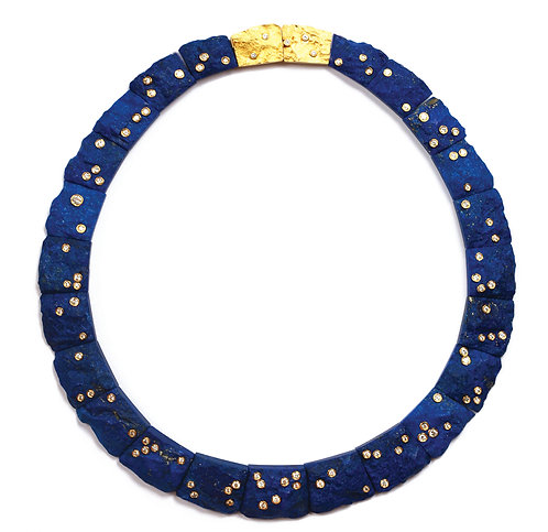Starry Night Necklace in Lapis, 2.72 ctw Diamonds, 18k and 22k Gold