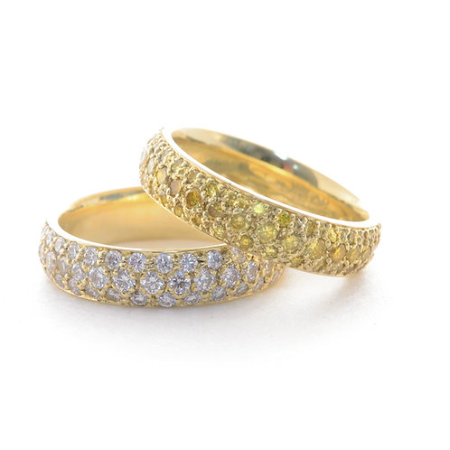 Diamond Pave' Bands in 18k Gold
