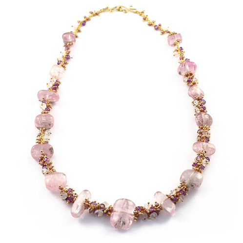 Kunzite, Amethyst, Moonstone and Pearl Necklace with 18k Gold Clasp.  16 inches.