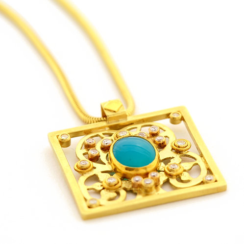 Chrysocolla Pendant with .46 ctw Diamonds in  22k and 18k Gold.